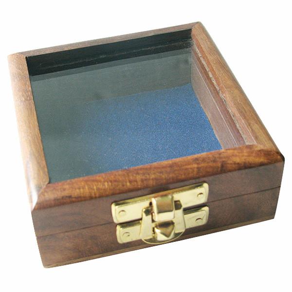 Holzbox mit Glas im Deckel, 8,5x8,5x3,5cm