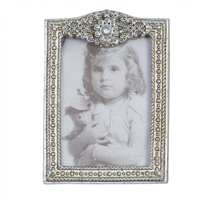 Bilderrahmen Silber mit Perlen 6*9cm