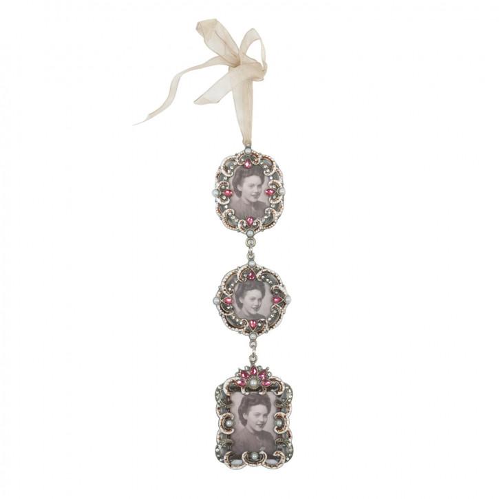Bilderrahmen mit Perlen und Aufhänger (3) 6*5cm