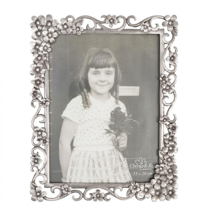 Fotorahmen Silber mit Blumen 15*20 cm