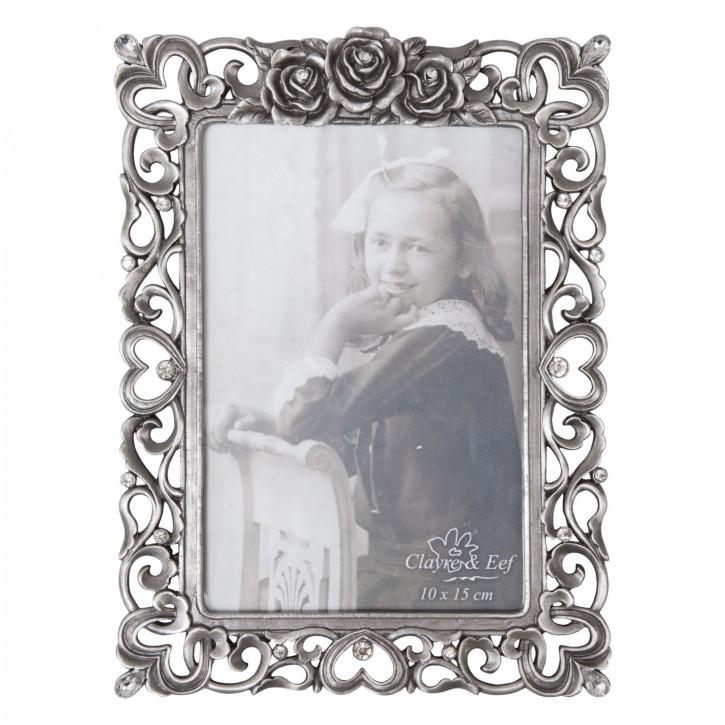 Fotorahmen Silber mit Rosen 10*15 cm