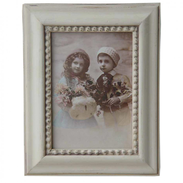 Fotorahmen  Weiß mit Ornament 13*18 cm