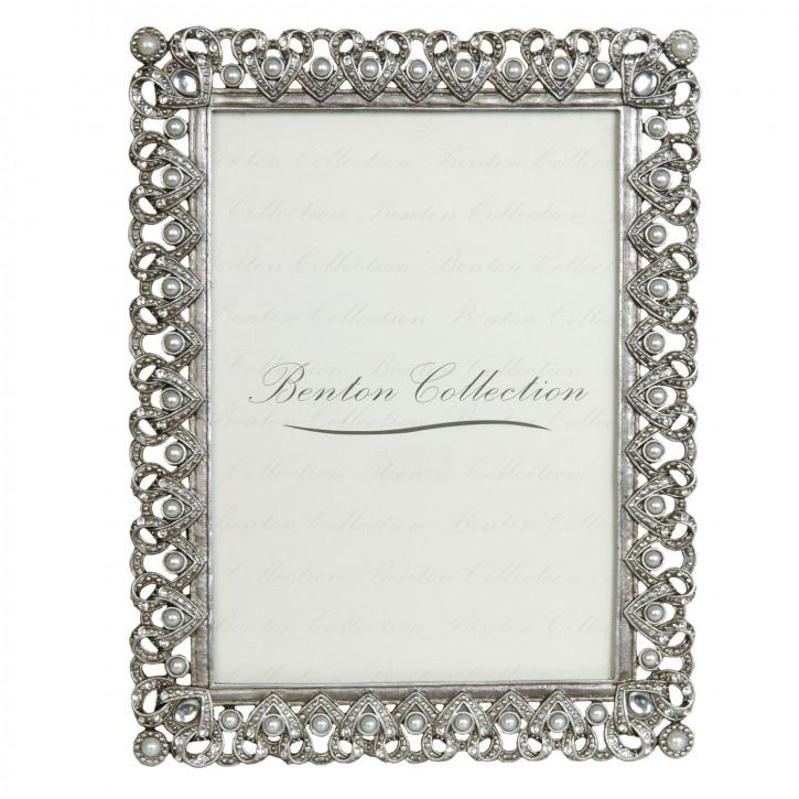 Fotorahmen Silber mit Perlen  9*13 cm
