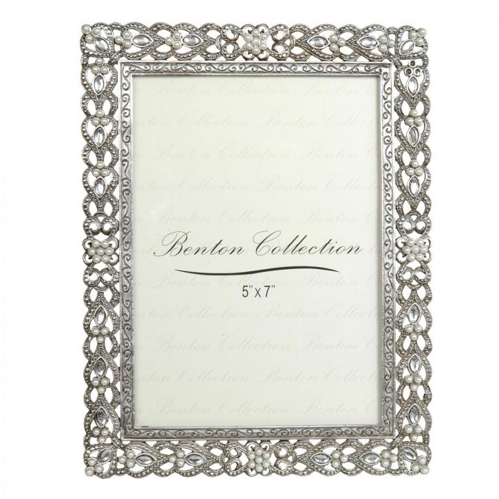 Fotorahmen Silber mit Perlen 13*18 cm