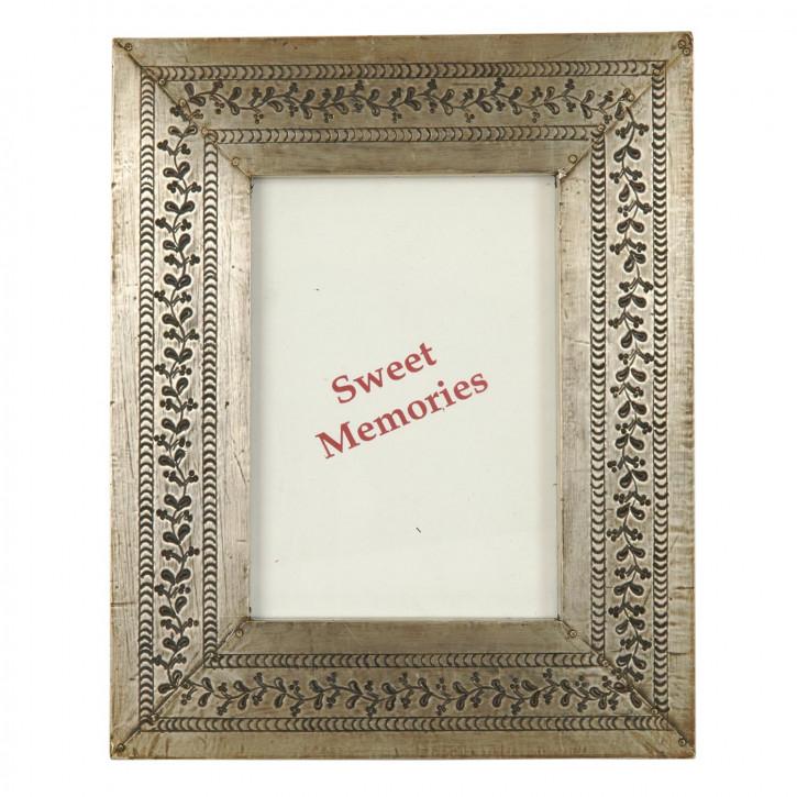 Fotorahmen  Silber mit Blumen 13*18 cm
