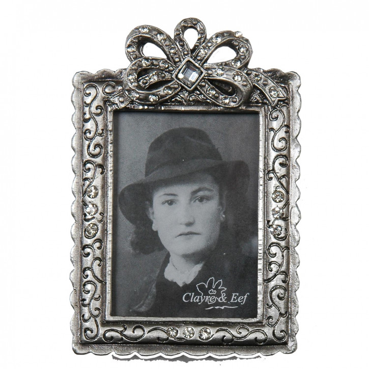 Fotorahmen Silber mit Schleife 4*5 cm