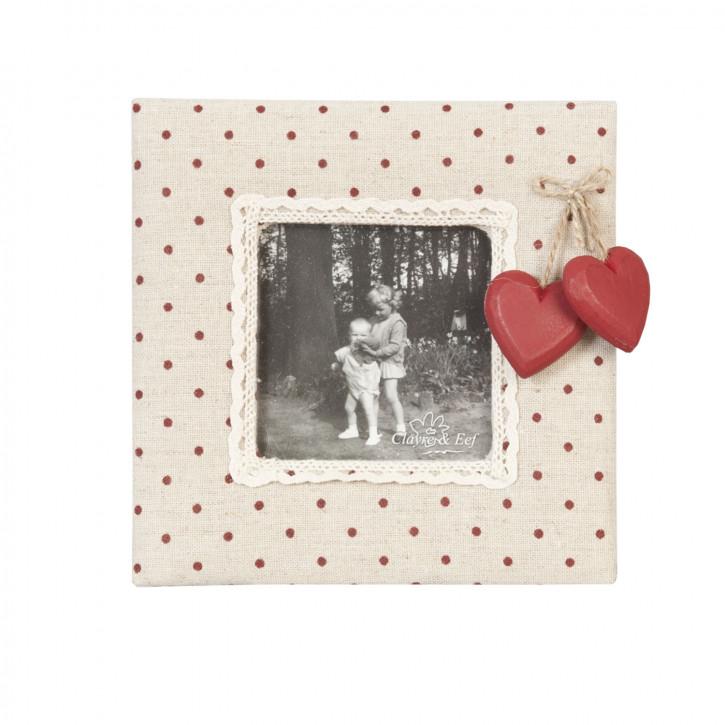 Fotorahmen Holzherzen rot gepunktet ca. 16 x 16 cm (8,5 x 8,5 cm)