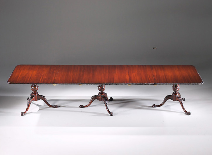 Dining Table Rect., 3 Piedestal, 3 Leaf