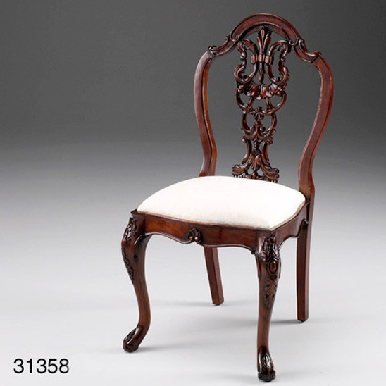 Desk Chair, French, Carved, Leather