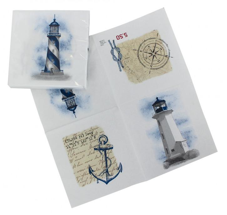 Servietten - Leuchtturm, Zellstoff, 20x20/40x40cm, 20 Stück