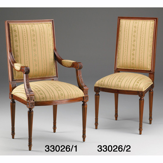 French Upholstered Dining Chair, Arm