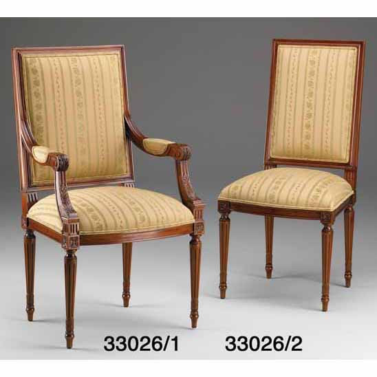 French Upholstered Dining Chair, Side