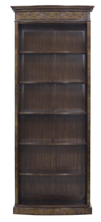 Bow fronted Bookcase Tall Burl