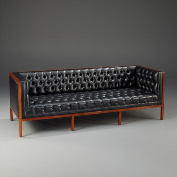 """Modernes Sofa """"Amsterdam"""" Couch Polsterecke 3 Sitzer schwarzes Kunstleder"""