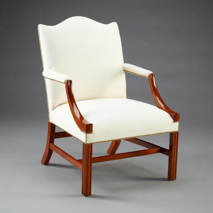 Chippendale Arm Chair Camel Back Straight Leg
