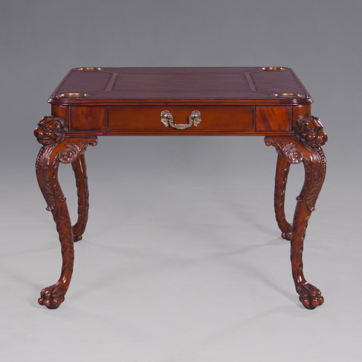 """Carved Games Table with Leather Top"""