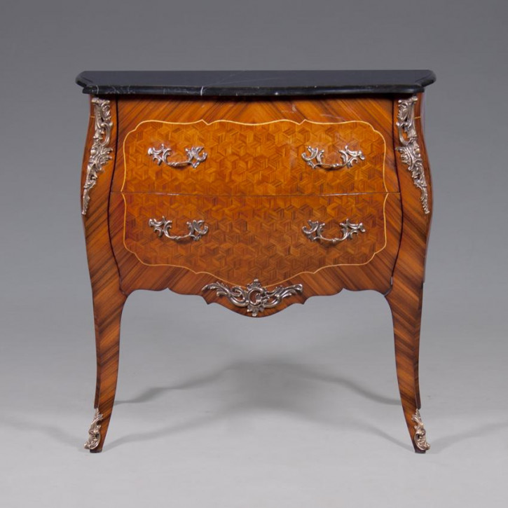 Bombe Commode Inlay, Green Marble Top