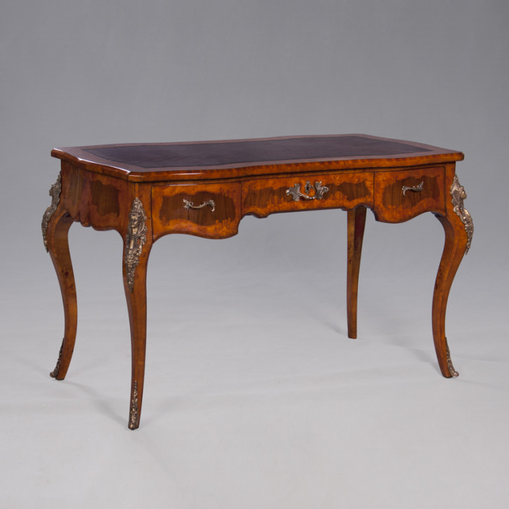 Louis Inlaid Writing Table, Leather Top