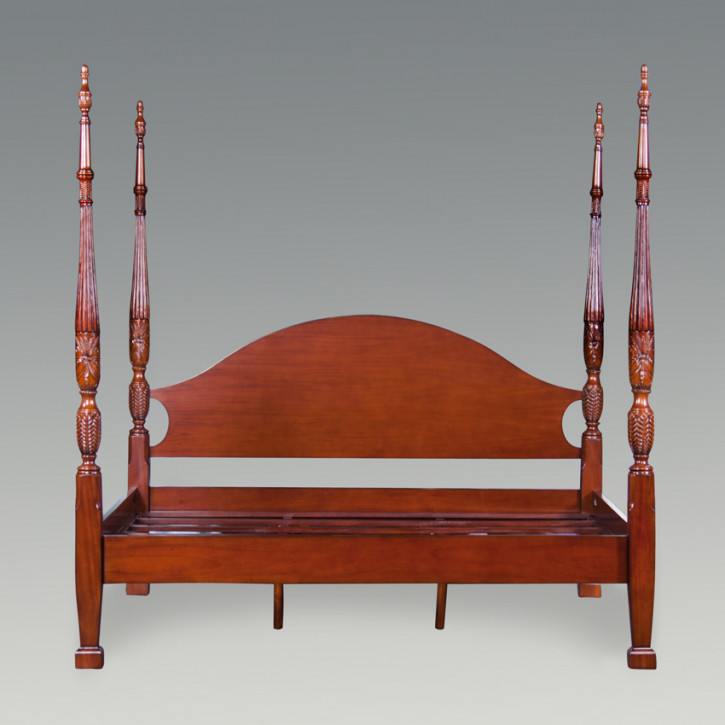 Rice Carved Poster Bed, King