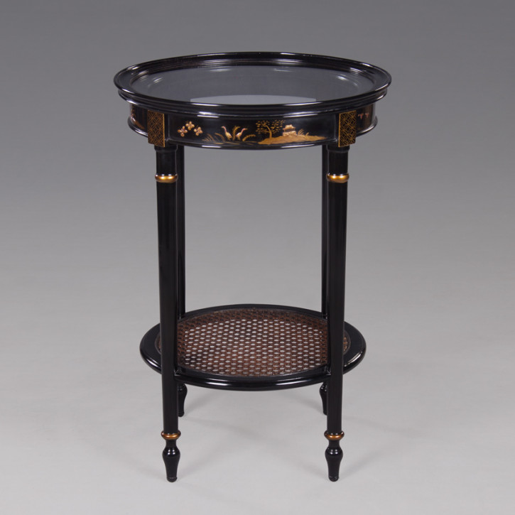 Chinoserie Side Table Round, Tall