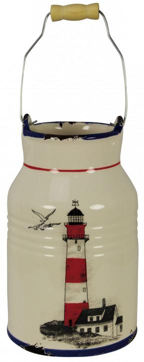 Kanne - Leuchtturmdesign, Steingut lackiert, H: 29/20cm, Ø: 8,5/11,5cm
