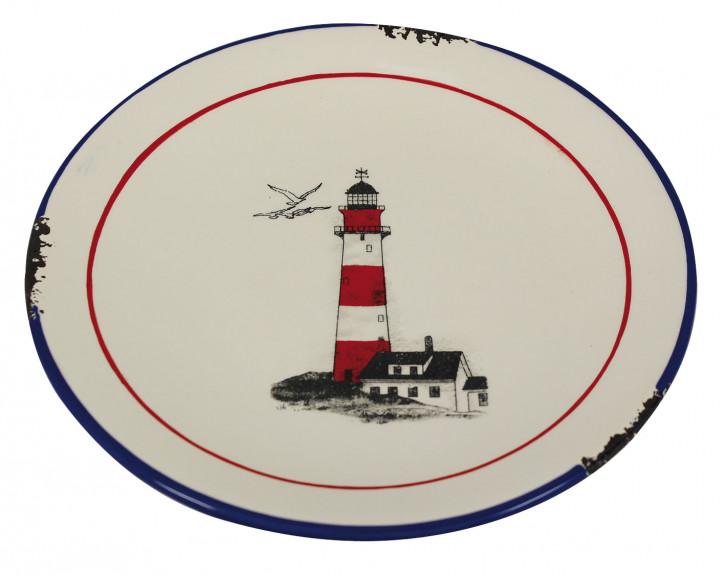 Teller - Leuchtturmdesign, Steingut lackiert, H: 2,5cm, Ø: 20cm