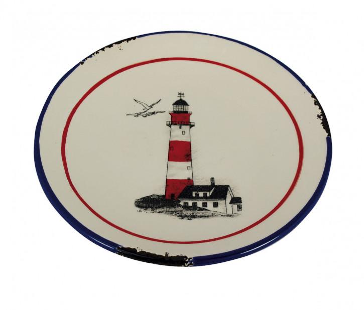 Teller - Leuchtturmdesign, Steingut lackiert, H: 2cm, Ø: 15,5cm