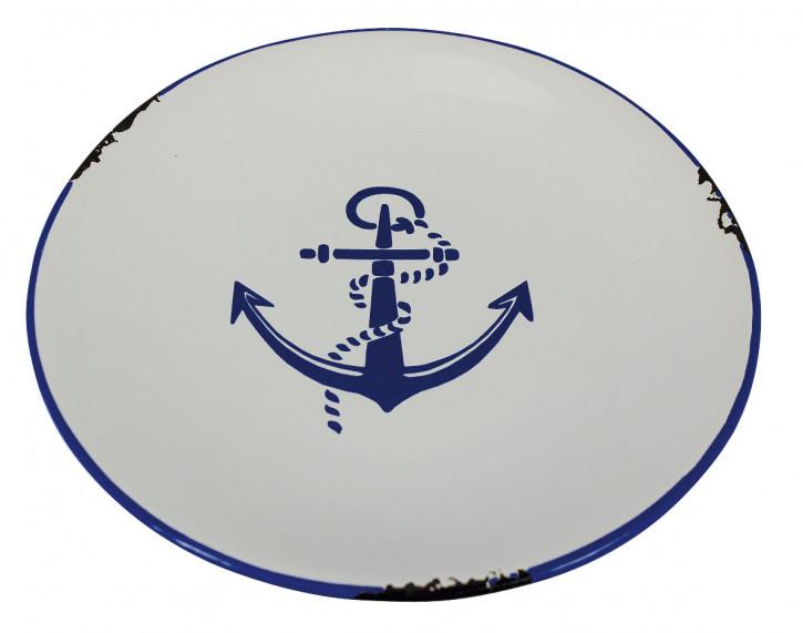 Teller - Ankerdesign, Steingut lackiert, H: 2,5cm, Ø: 20cm