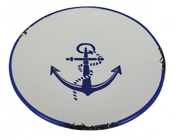 Teller - Ankerdesign, Steingut lackiert, H: 2cm, Ø: 15,5cm