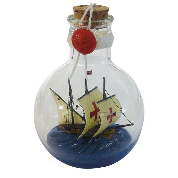 Flaschenschiff - Santa Maria, rund, stehend, H: 11cm, Ø: 7,5cm