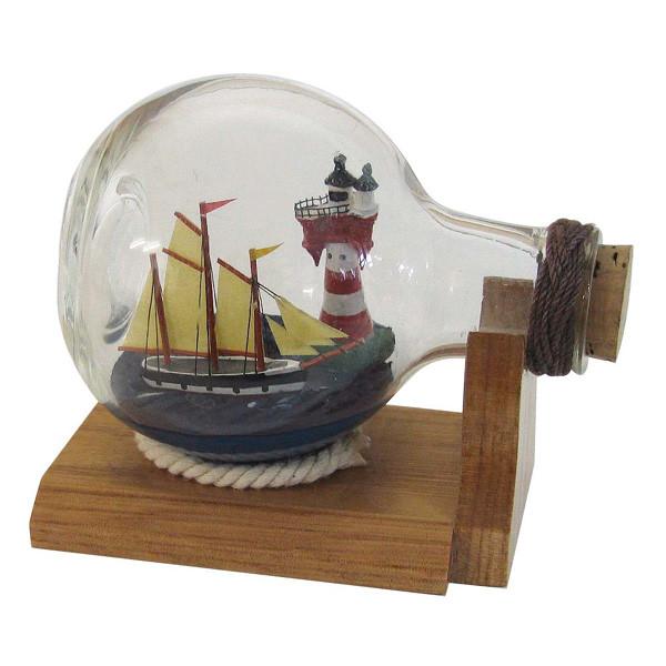 Flaschenschiff mit Leuchtturm, Kugelflasche, L: 10,5cm