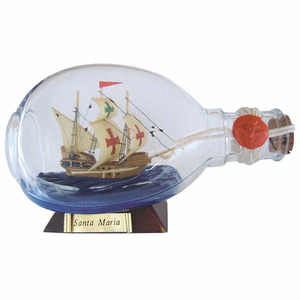 Flaschenschiff - Santa Maria, in der Dimple-Flasche, L: 15cm, H: 9cm