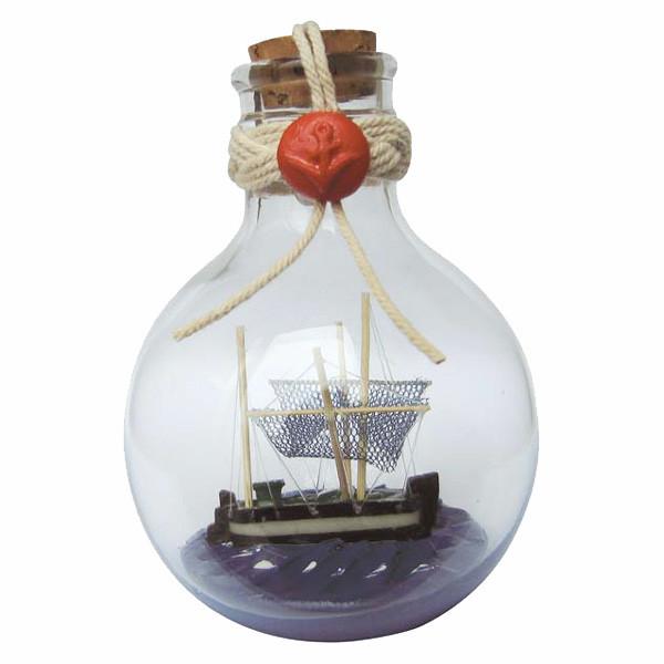 Flaschenschiff - Kutter, rund, stehend, H: 11cm, Ø: 7,5cm