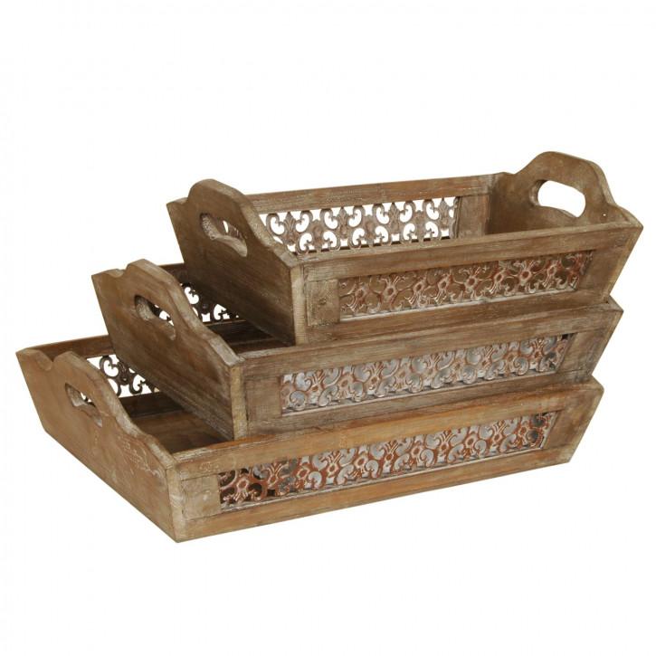 Eindrucksvolle Holz-Tabletts (3er Set)