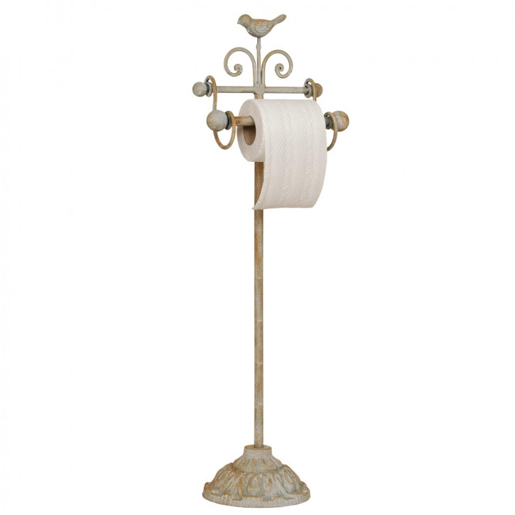 Toilettenpapierhalter Fuß Metall Eisen crème Landhaus 22 x 10 x 69 cm