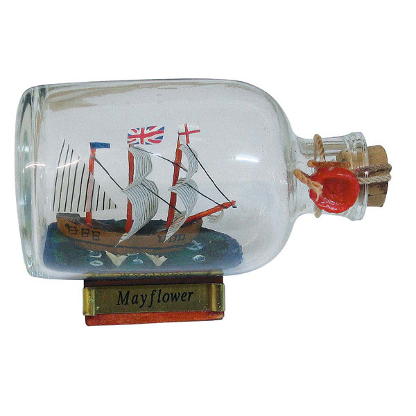 Flaschenschiff - Mayflower, L: 9cm