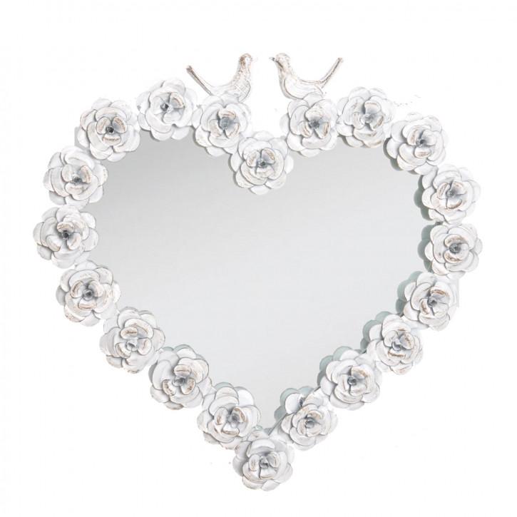 Spiegel Herz weiß mit Rosen 41.5*41.5cm