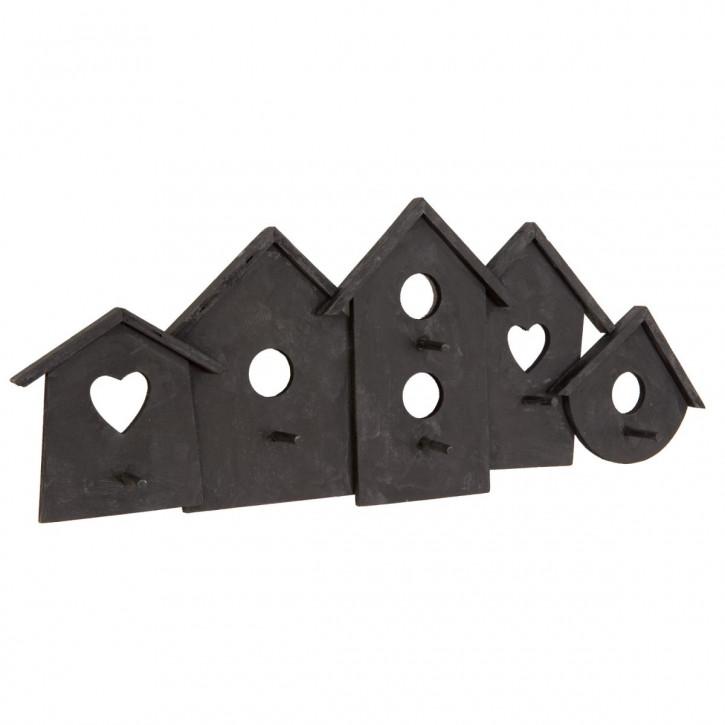Garderobe Schwarz Vogelhäuschen mit 6 Haken ca. 58 x 5 x 23 cm