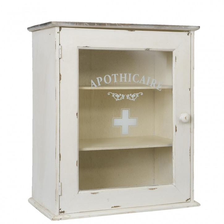 Weißer Apothekenschrank aus Holz im Used-Look