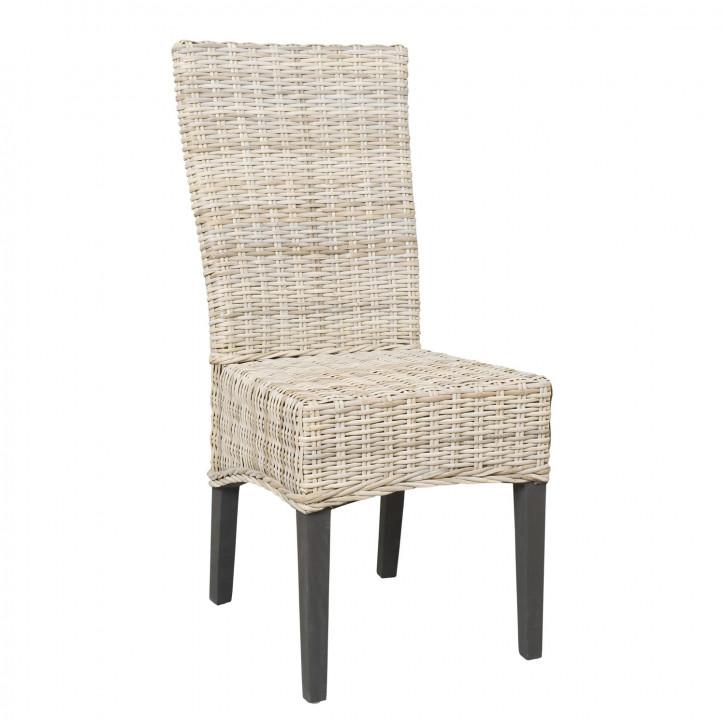 Rattan-Stuhl lang, in beige