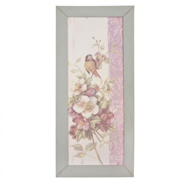 gerahmtes Bild auf Stoff Blumen Vogel ca. 35 x 75 x 3 cm