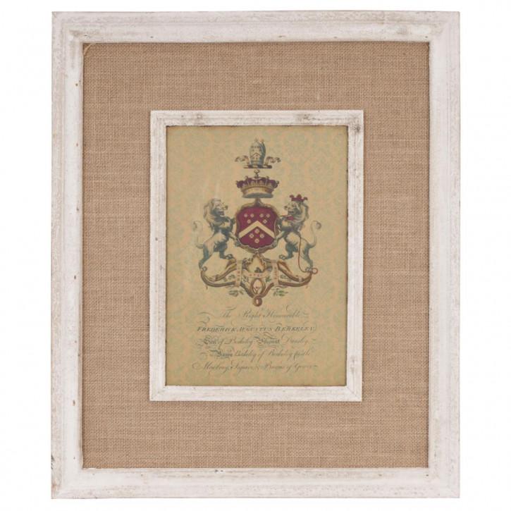 gerahmtes Bild auf Stoff Wappen ca. 60 x 50 cm