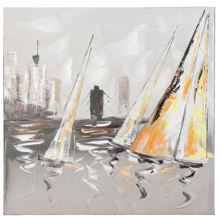 Bild Gemälde Segelboot Boote ca. 80 x 80 cm