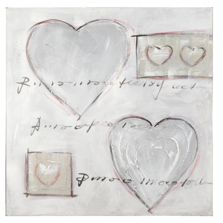 Bild Gemälde Herz Herzen ca. 80 x 80 cm