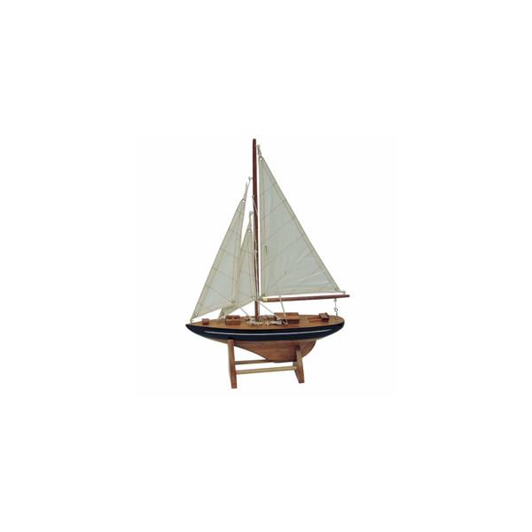 Segel-Yacht, Holz mit Stoffsegel, L: 25cm, H: 35cm