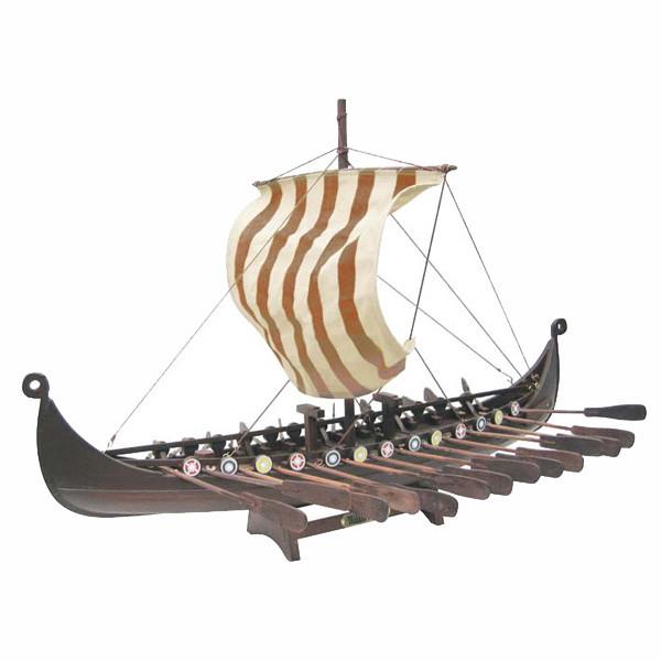 Wikinger-Schiff, Holz mit Stoffsegel, L: 60cm, H: 40cm