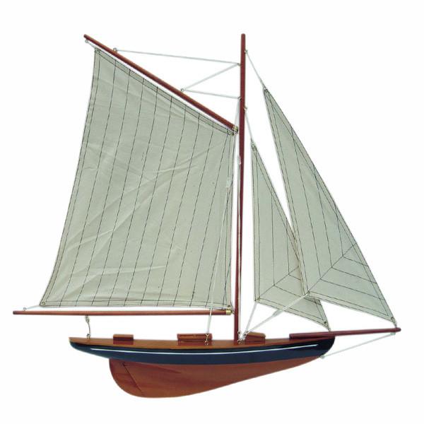 Segel-Yacht, Halbmodell, blau/natur, Holz mit Stoffsegel, L: 56cm, H: 52cm