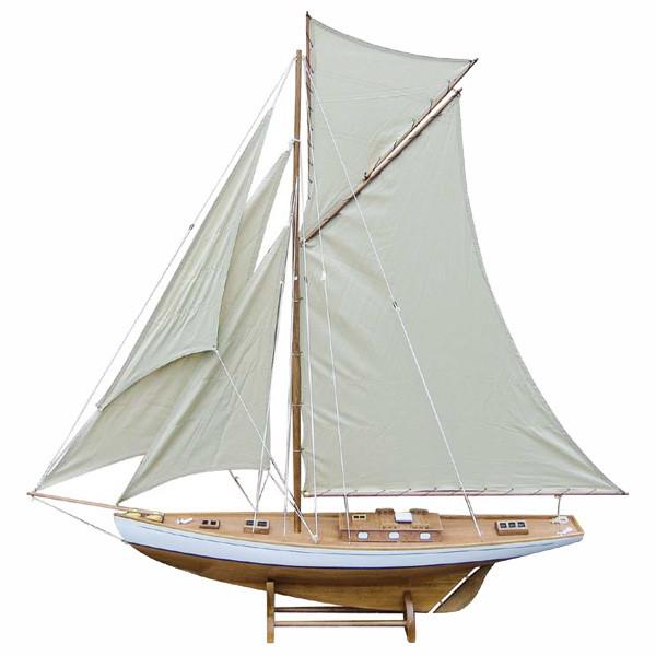 Segel-Yacht, Holz mit Stoffsegel, L: 125cm, H: 135cm