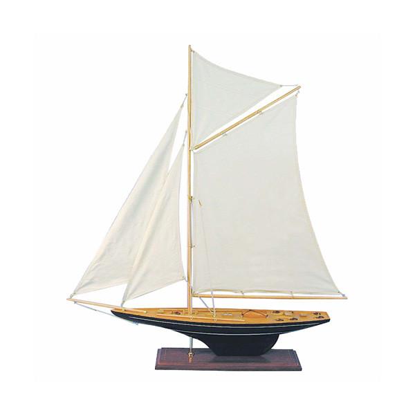 Segler-Yacht, Holz mit Stoffsegel, L: 80cm, H: 85cm
