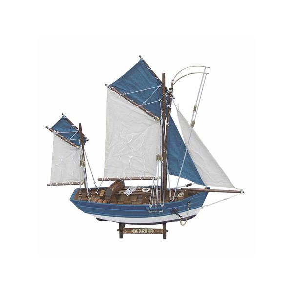 Thunfischfänger, Holz mit Stoffsegel, L: 45cm, H: 43cm